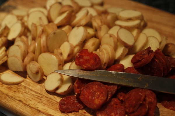Make sure your chorizo is thinly slice - the crispy bits are awesome!
