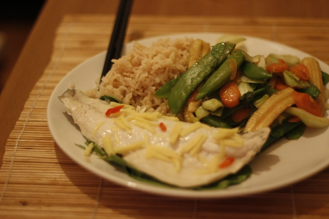 Thai Style Steamed Sea Bass with Jasmine Rice