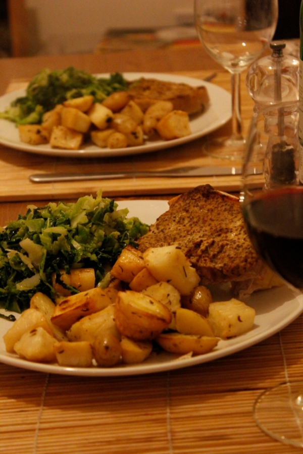 Mustard Pork with Parsnip and Potatoes