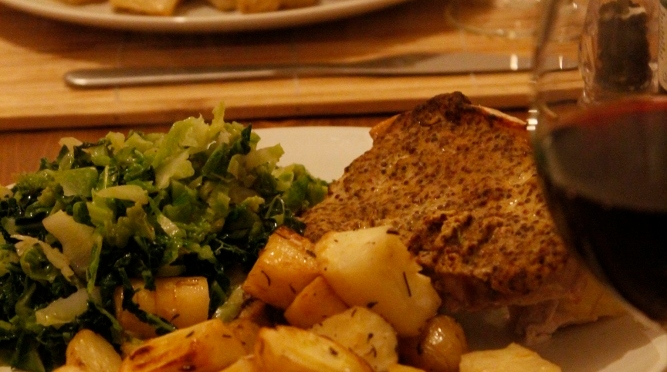 Mustard Pork with Roasted Parsnip, Celeriac and Potatoes