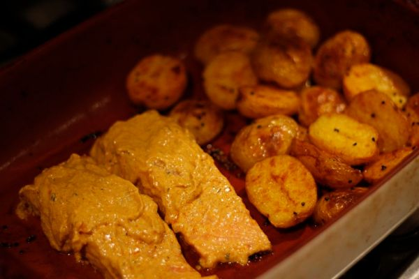 Curry Salmon in Roasting Dish
