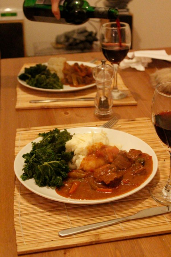 Good red wine is an essential accompaniment to this stew!