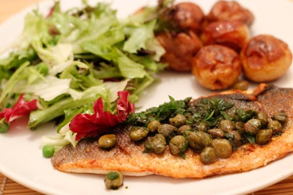 Sea bass with capers