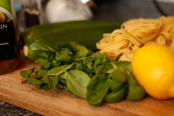 Ingredients for Courgette Ribbon Tagliatelle