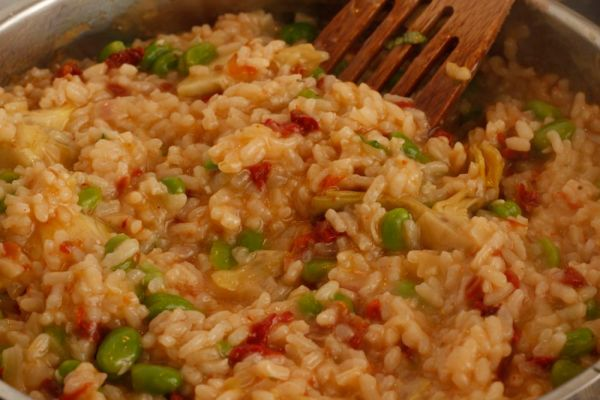 Antipasti risotto cooking