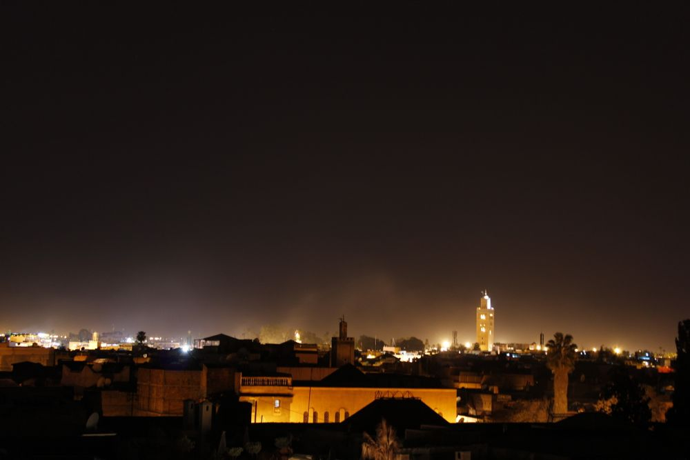 This was the view from the roof terrace of our riad. The smoke in the distance is from the food stalls in the Djema el-Fna (the main square) - spectacular!