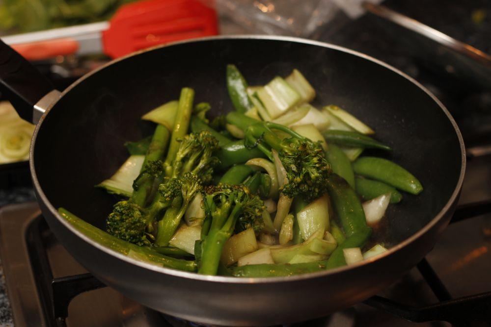 Stir-frying veg