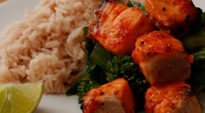Sweet Chilli Salmon Skewers