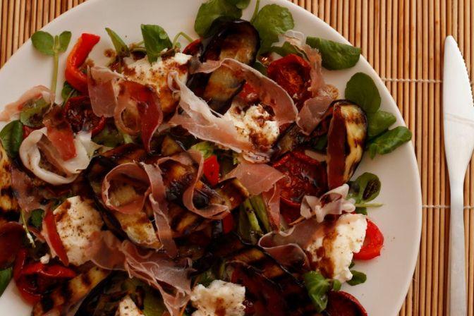 Ricotta, Aubergine, Prosciutto and Tomato Salad