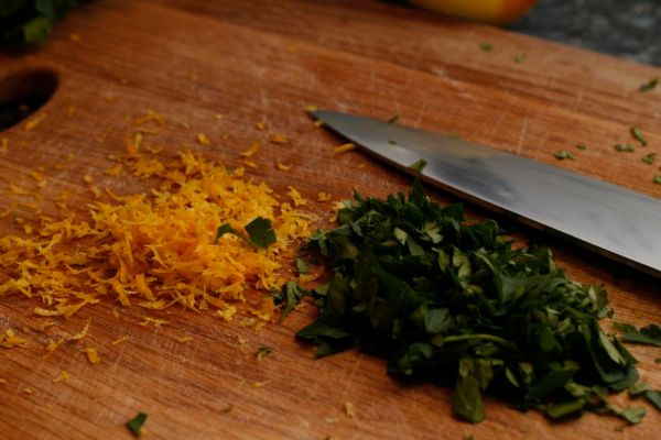 Lemon zest and parsley