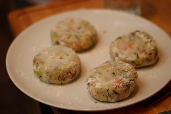 Salmon fishcakes uncooked
