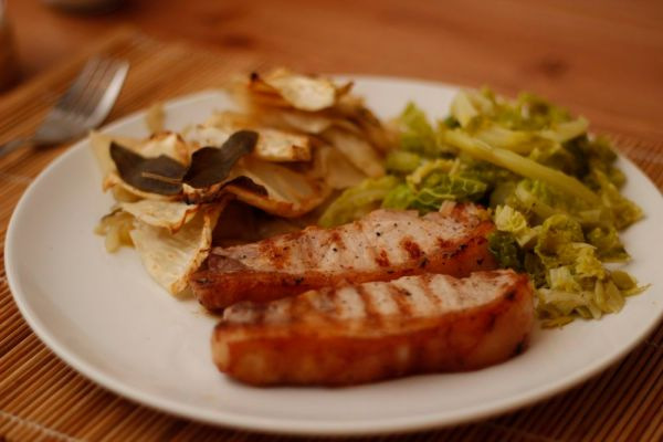 Pork Steaks with Celeriac Gratin