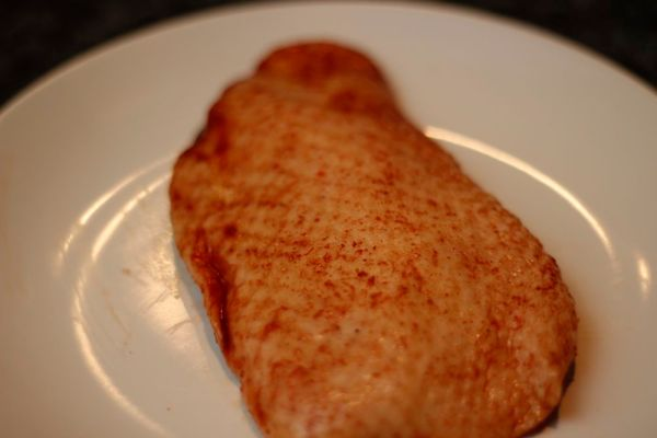 Duck breast - after marinade. Lovely colour!