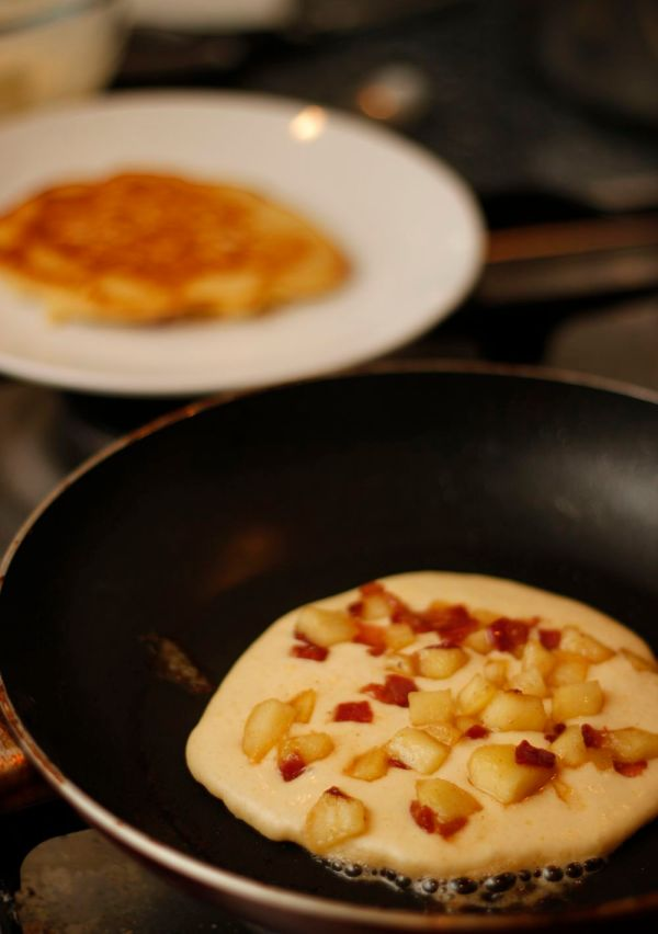 Apple and bacon pancakes raw